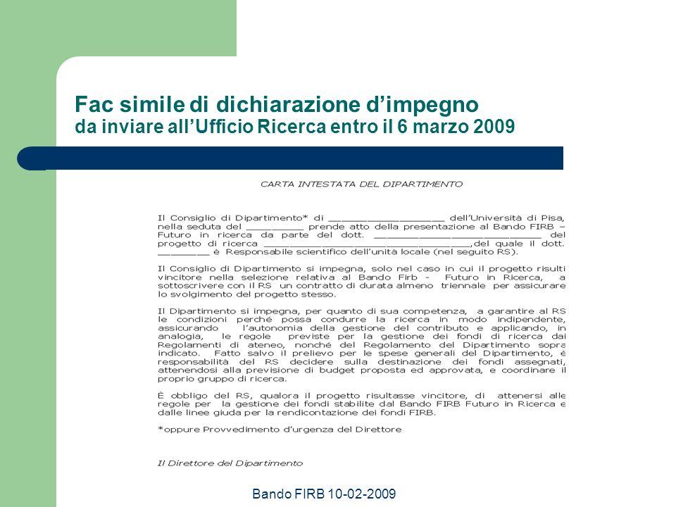 Bando FIRB 10-02-2009 Fac simile di dichiarazione dimpegno da inviare allUfficio Ricerca entro il 6 marzo 2009