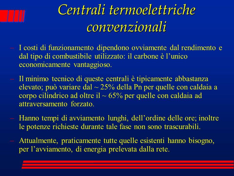 Centrali termoelettriche convenzionali –Hanno costi di installazione medi (più elevati per le centrali a carbone per effetto delle componenti di impianto necessarie al lavaggio dei fumi) e costi di esercizio medi (più bassi per le centrali a carbone).