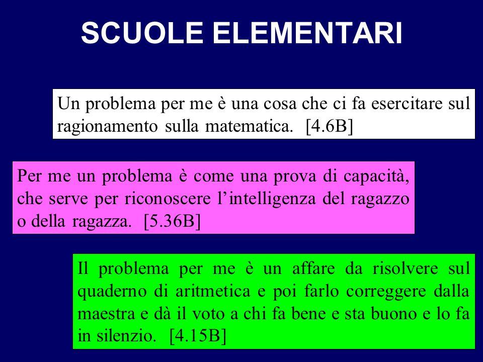 SCUOLE ELEMENTARI Un problema per me è una cosa che ci fa esercitare sul ragionamento sulla matematica. [4.6B] Per me un problema è come una prova di