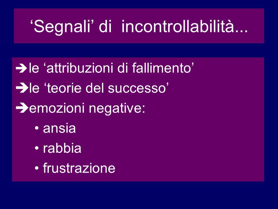 Segnali di incontrollabilità... le attribuzioni di fallimento le teorie del successo emozioni negative: ansia rabbia frustrazione