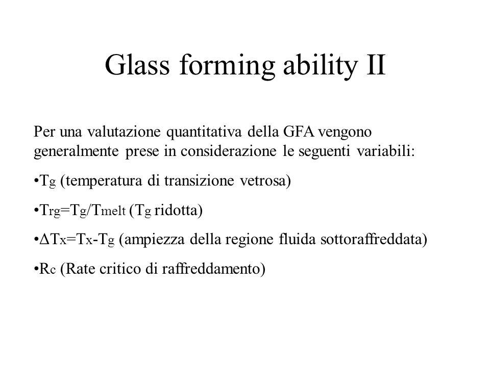 Glass forming ability II Per una valutazione quantitativa della GFA vengono generalmente prese in considerazione le seguenti variabili: T g (temperatu