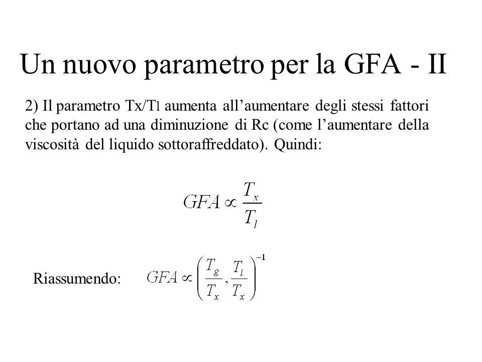 Un nuovo parametro per la GFA - II 2) Il parametro Tx/T l aumenta allaumentare degli stessi fattori che portano ad una diminuzione di Rc (come laument