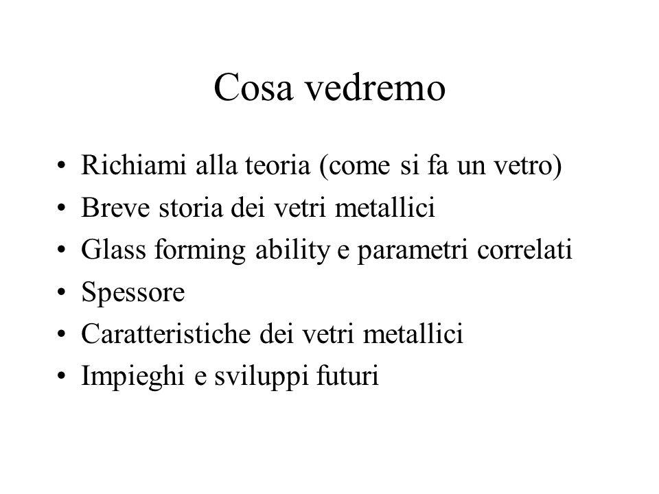 Cosa vedremo Richiami alla teoria (come si fa un vetro) Breve storia dei vetri metallici Glass forming ability e parametri correlati Spessore Caratter