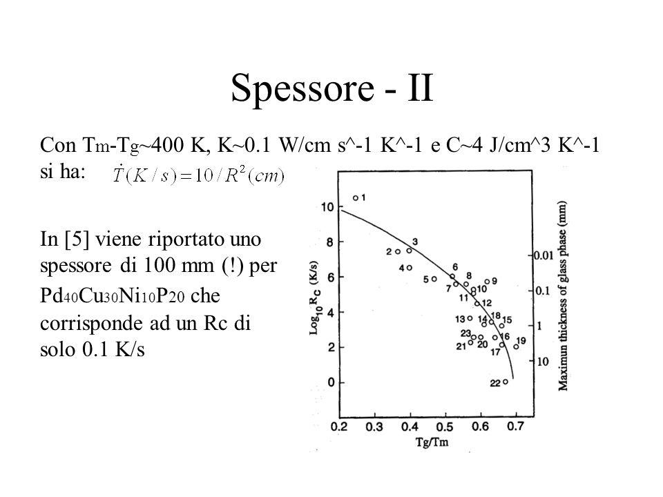 Spessore - II Con T m -T g ~400 K, K~0.1 W/cm s^-1 K^-1 e C~4 J/cm^3 K^-1 si ha: In [5] viene riportato uno spessore di 100 mm (!) per Pd 40 Cu 30 Ni