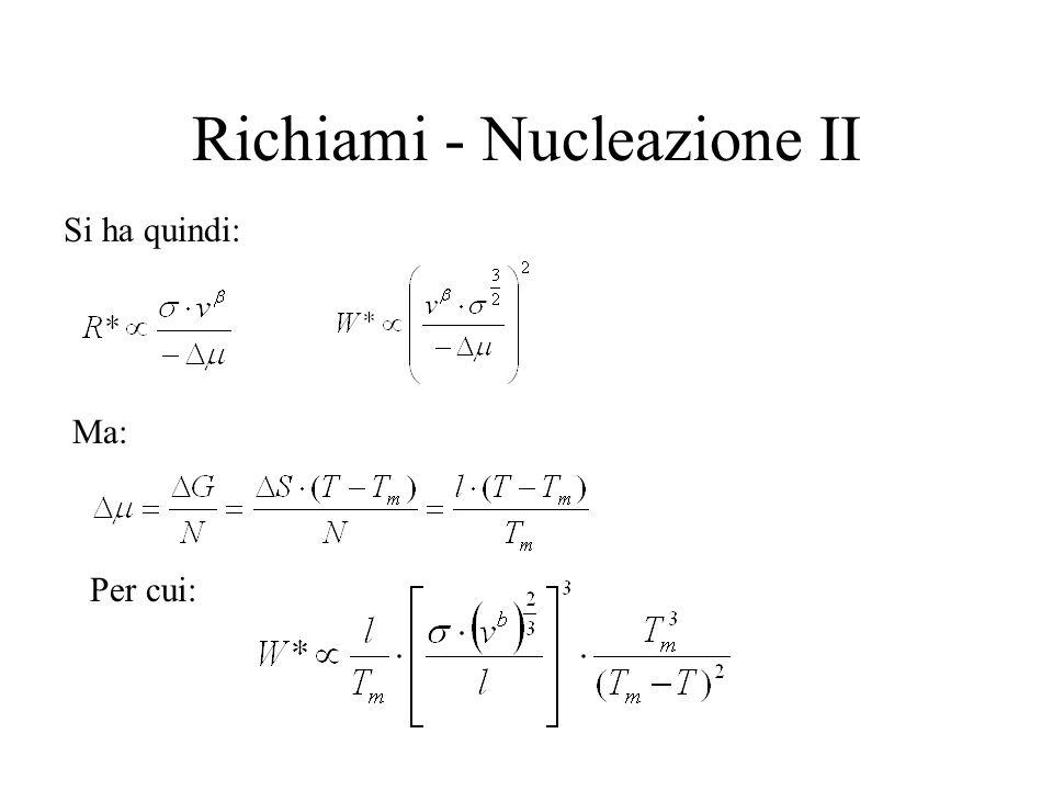 Richiami - Nucleazione II Si ha quindi: Ma: Per cui: