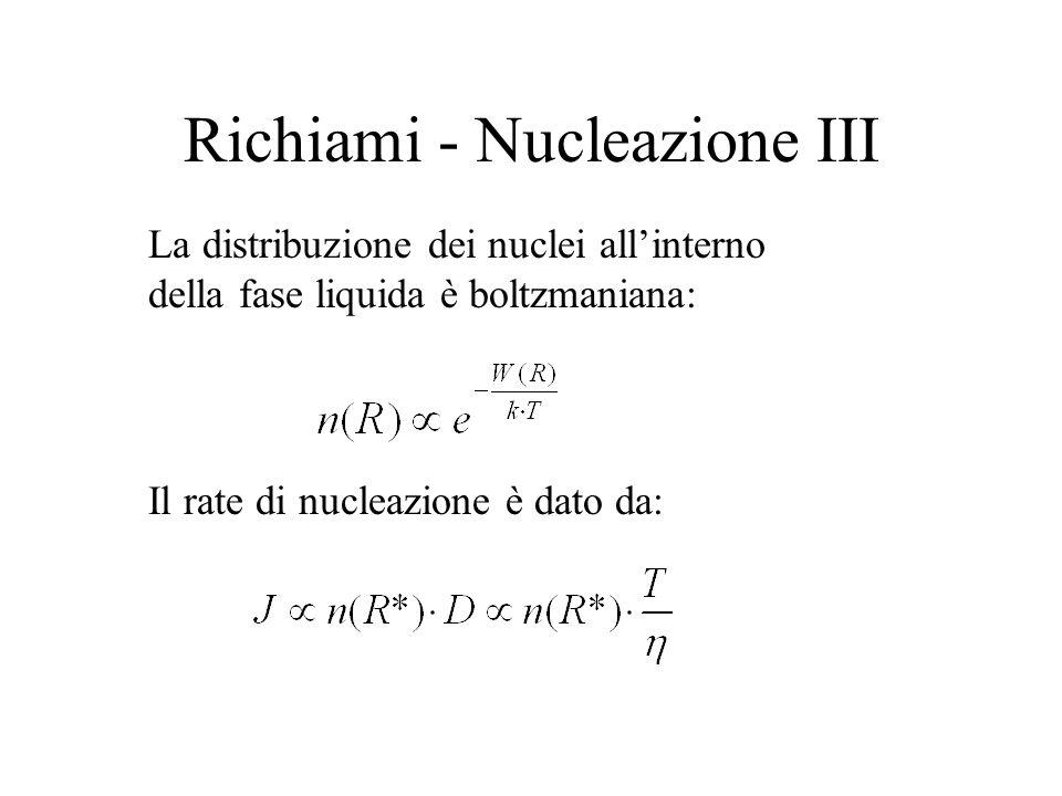 Richiami - Nucleazione III Il rate di nucleazione è dato da: La distribuzione dei nuclei allinterno della fase liquida è boltzmaniana: