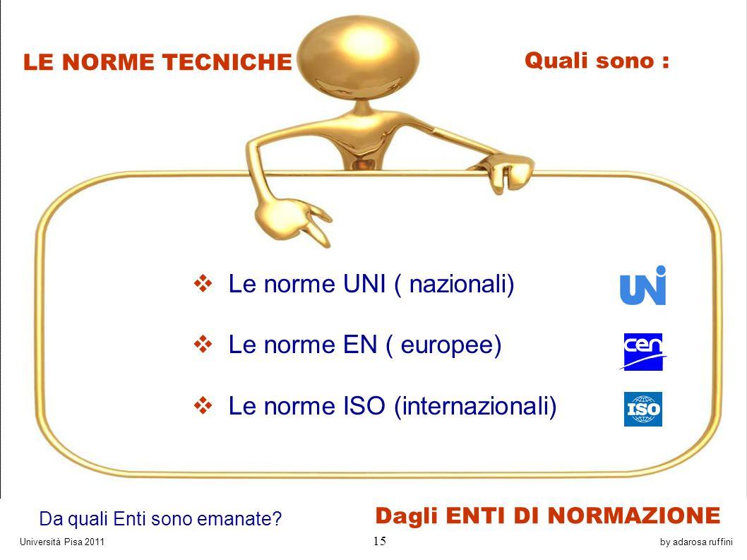 by adarosa ruffiniUniversità Pisa 2011 15 Quali sono : Le norme UNI ( nazionali) Le norme EN ( europee) Le norme ISO (internazionali) Dagli ENTI DI NORMAZIONE Da quali Enti sono emanate.