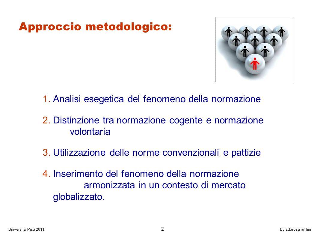 Università Pisa 2011 2 Approccio metodologico: 1.