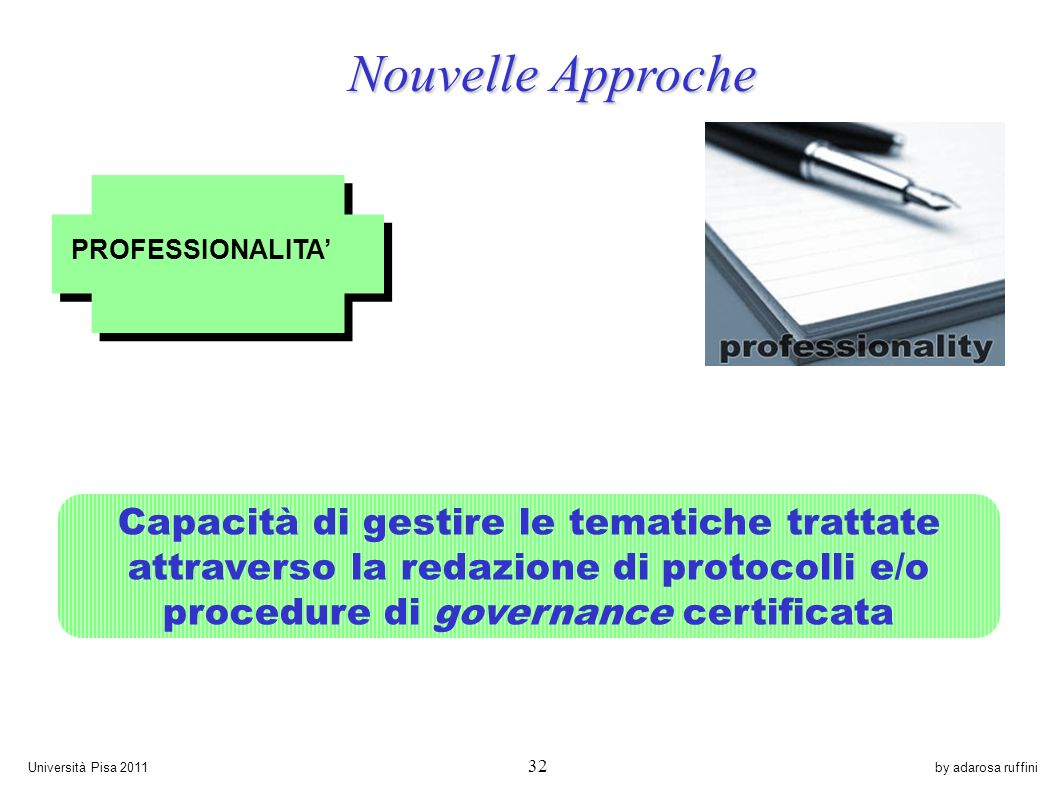 by adarosa ruffiniUniversità Pisa 2011 32 PROFESSIONALITA Capacità di gestire le tematiche trattate attraverso la redazione di protocolli e/o procedure di governance certificata Nouvelle Approche Nouvelle Approche