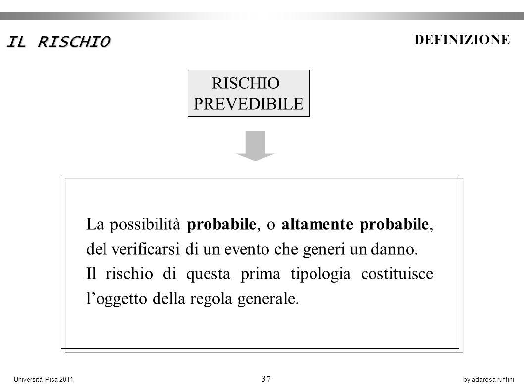 by adarosa ruffiniUniversità Pisa 2011 37 RISCHIO PREVEDIBILE La possibilità probabile, o altamente probabile, del verificarsi di un evento che generi un danno.