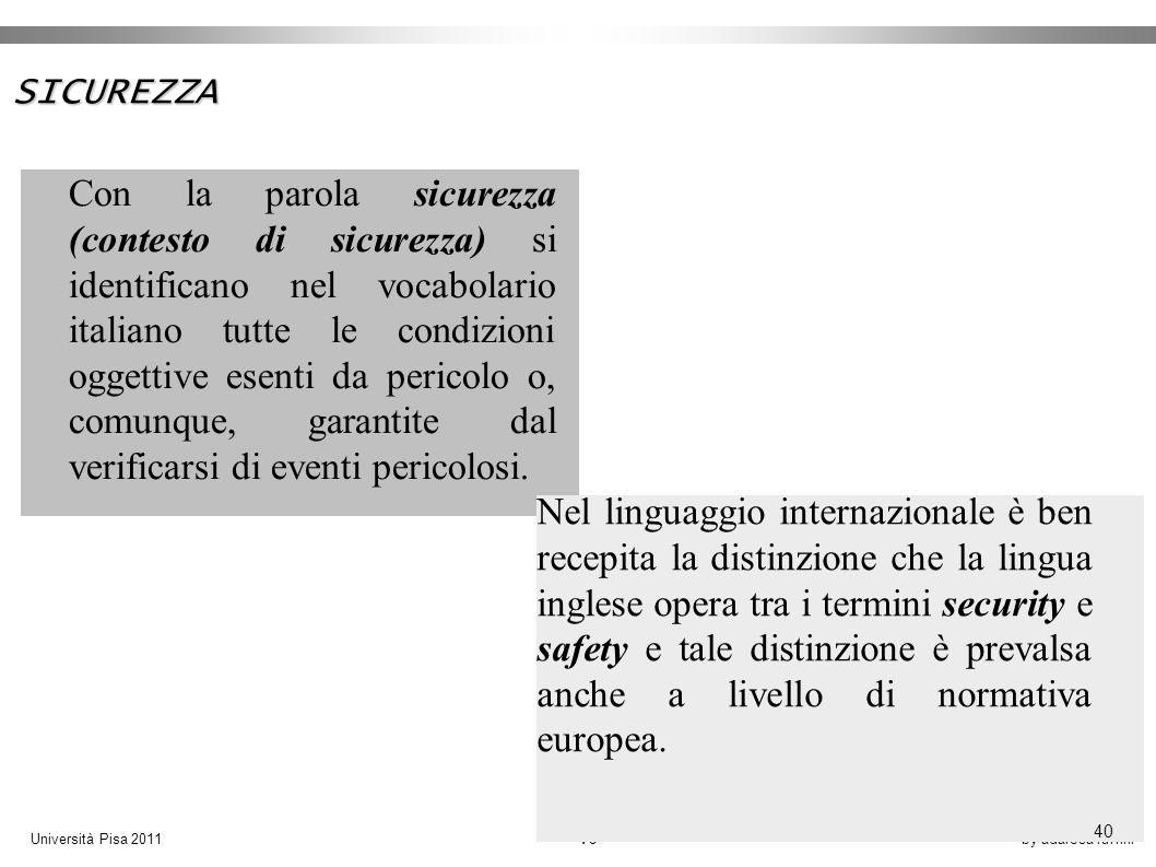 by adarosa ruffiniUniversità Pisa 2011 40 Con la parola sicurezza (contesto di sicurezza) si identificano nel vocabolario italiano tutte le condizioni oggettive esenti da pericolo o, comunque, garantite dal verificarsi di eventi pericolosi.