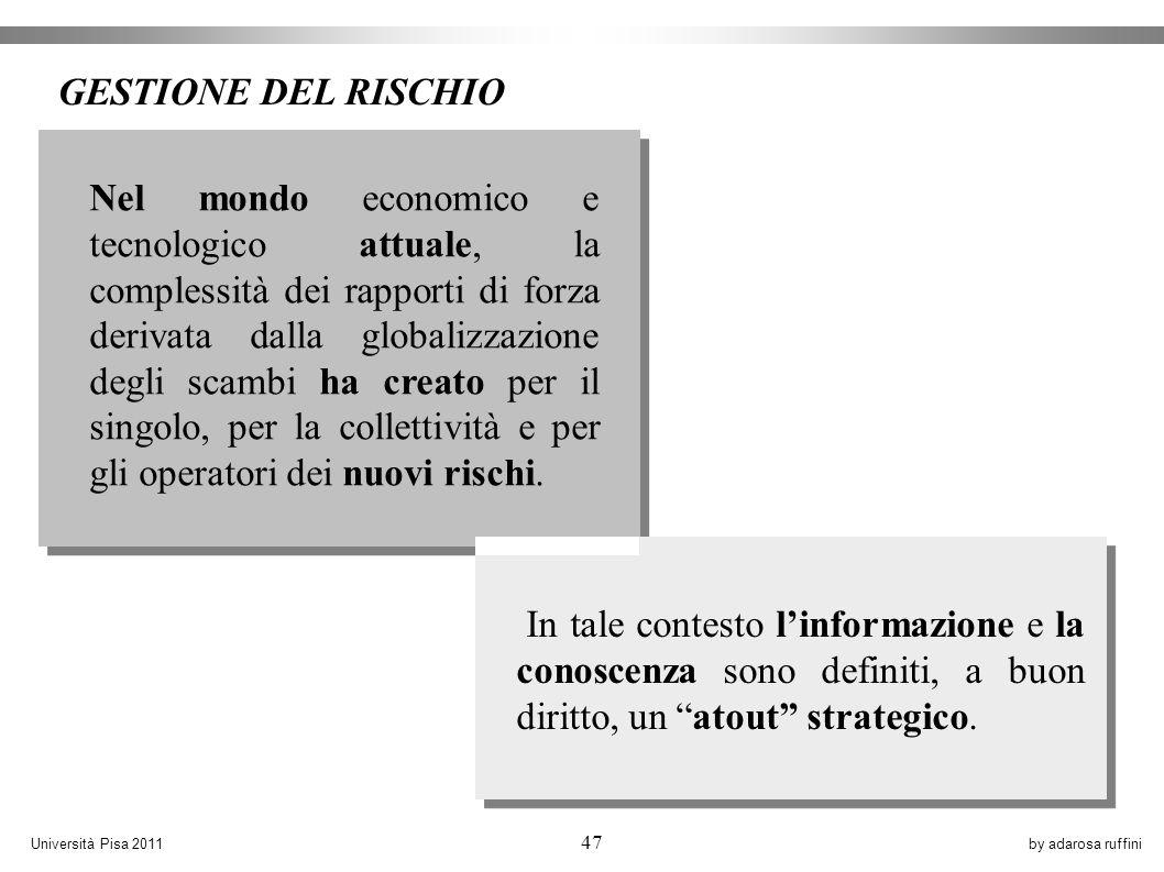 by adarosa ruffiniUniversità Pisa 2011 47 Nel mondo economico e tecnologico attuale, la complessità dei rapporti di forza derivata dalla globalizzazione degli scambi ha creato per il singolo, per la collettività e per gli operatori dei nuovi rischi.