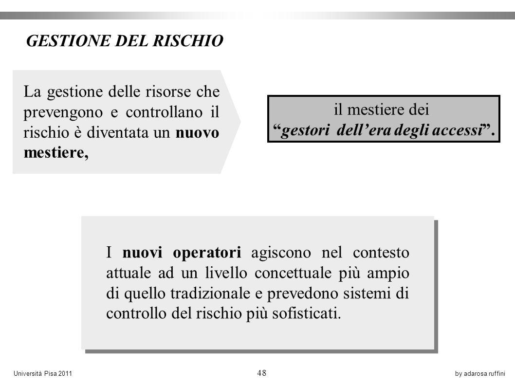by adarosa ruffiniUniversità Pisa 2011 48 I nuovi operatori agiscono nel contesto attuale ad un livello concettuale più ampio di quello tradizionale e prevedono sistemi di controllo del rischio più sofisticati.