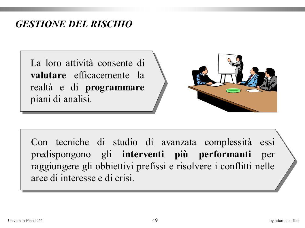 by adarosa ruffiniUniversità Pisa 2011 49 Con tecniche di studio di avanzata complessità essi predispongono gli interventi più performanti per raggiungere gli obbiettivi prefissi e risolvere i conflitti nelle aree di interesse e di crisi.