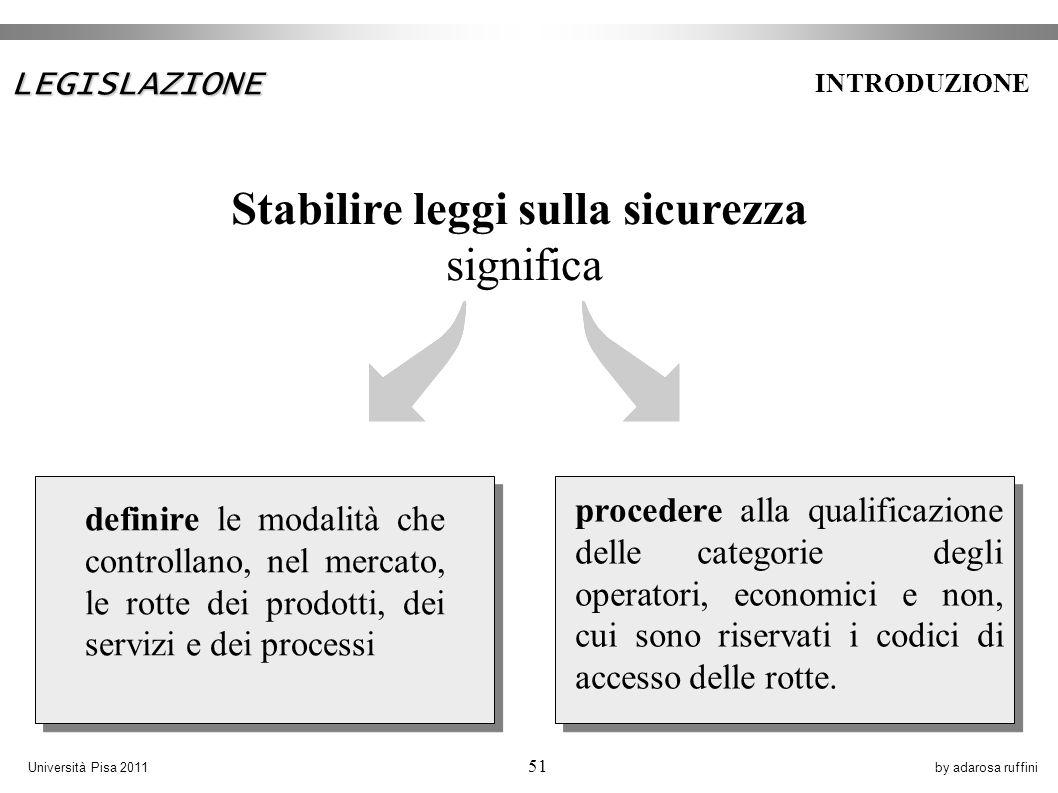 by adarosa ruffiniUniversità Pisa 2011 51 procedere alla qualificazione delle categorie degli operatori, economici e non, cui sono riservati i codici di accesso delle rotte.