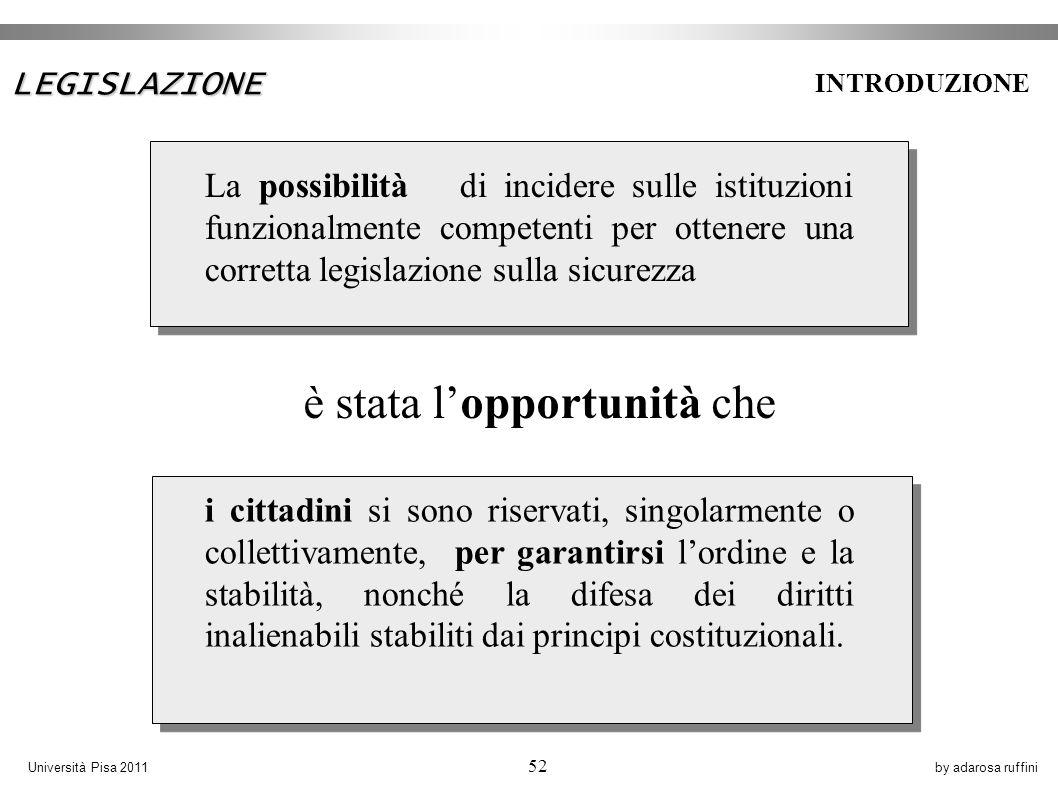 by adarosa ruffiniUniversità Pisa 2011 52 i cittadini si sono riservati, singolarmente o collettivamente, per garantirsi lordine e la stabilità, nonché la difesa dei diritti inalienabili stabiliti dai principi costituzionali.