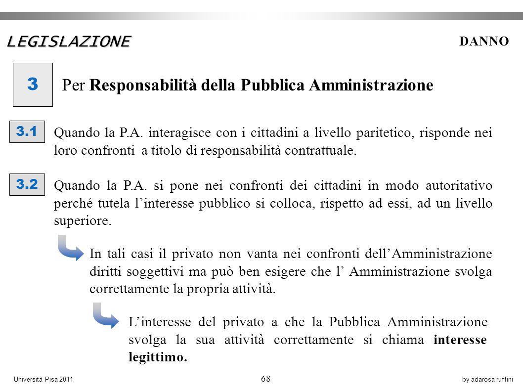 by adarosa ruffiniUniversità Pisa 2011 68 3 Per Responsabilità della Pubblica Amministrazione 3.1 Quando la P.A.