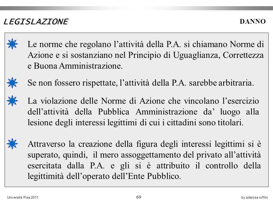 by adarosa ruffiniUniversità Pisa 2011 69 Le norme che regolano lattività della P.A.