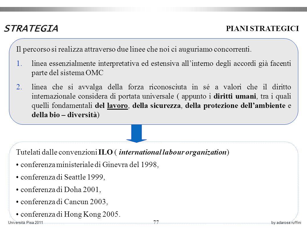by adarosa ruffiniUniversità Pisa 2011 77 PIANI STRATEGICI STRATEGIA Il percorso si realizza attraverso due linee che noi ci auguriamo concorrenti.