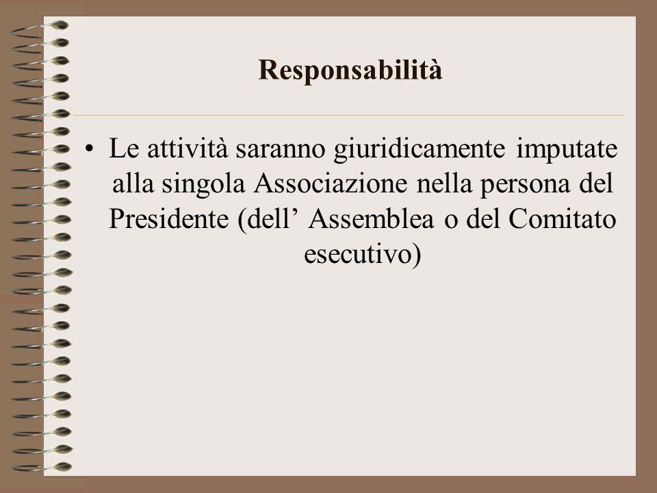 Responsabilità Le attività saranno giuridicamente imputate alla singola Associazione nella persona del Presidente (dell Assemblea o del Comitato esecu