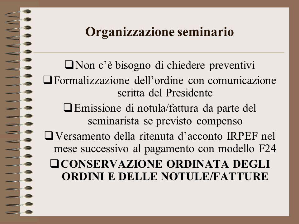 Organizzazione seminario Non cè bisogno di chiedere preventivi Formalizzazione dellordine con comunicazione scritta del Presidente Emissione di notula