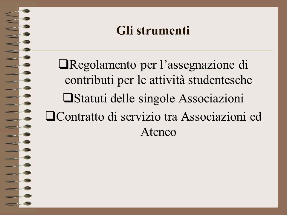 Gli strumenti Regolamento per lassegnazione di contributi per le attività studentesche Statuti delle singole Associazioni Contratto di servizio tra As