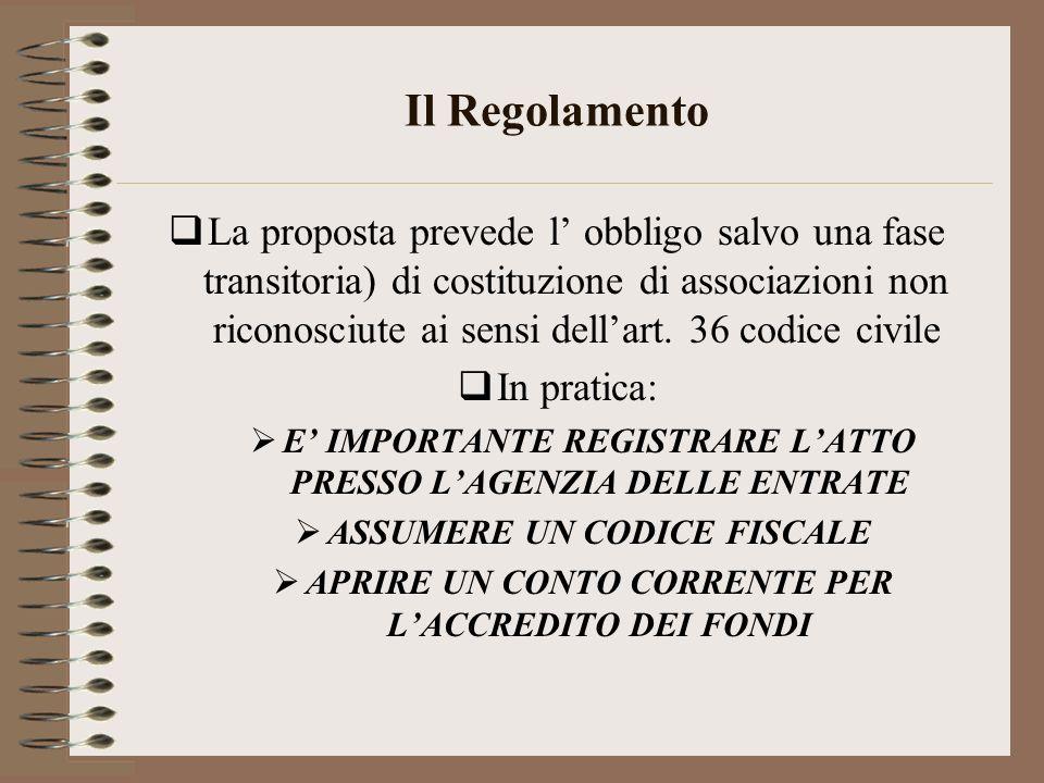 Il Regolamento La proposta prevede l obbligo salvo una fase transitoria) di costituzione di associazioni non riconosciute ai sensi dellart. 36 codice