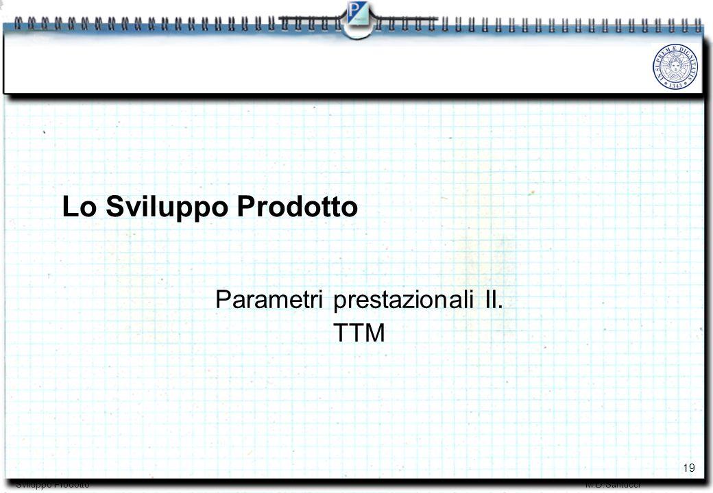 19 Sviluppo ProdottoM.D.Santucci Parametri prestazionali II. TTM Lo Sviluppo Prodotto
