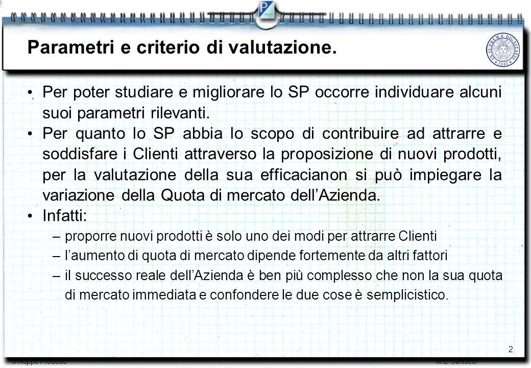 3 Sviluppo ProdottoM.D.Santucci Parametri e criterio di valutazione.