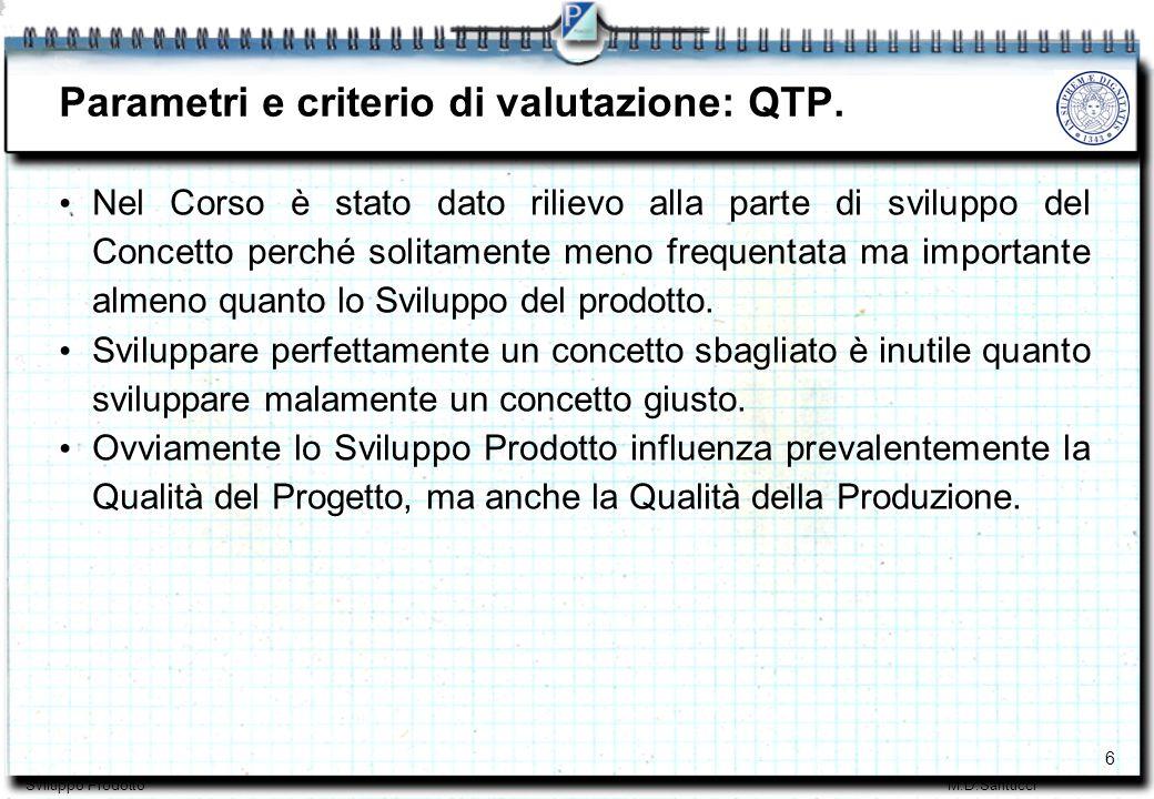 7 Sviluppo ProdottoM.D.Santucci Parametri e criterio di valutazione: TTM.
