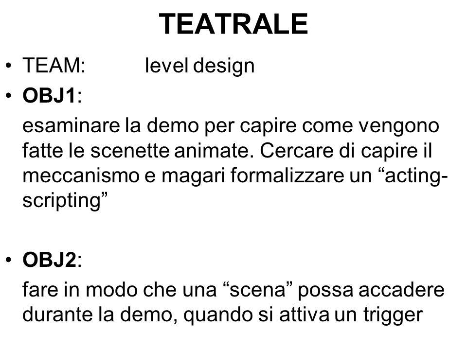 TEATRALE TEAM:level design OBJ1: esaminare la demo per capire come vengono fatte le scenette animate.