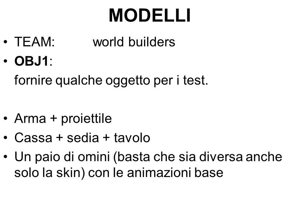 MODELLI TEAM:world builders OBJ1: fornire qualche oggetto per i test.