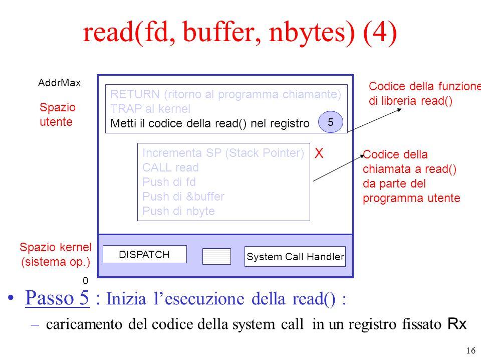 16 Spazio kernel (sistema op.) Spazio utente DISPATCH System Call Handler Codice della funzione di libreria read() Codice della chiamata a read() da parte del programma utente Incrementa SP (Stack Pointer) CALL read Push di fd Push di &buffer Push di nbyte RETURN (ritorno al programma chiamante) TRAP al kernel Metti il codice della read() nel registro 5 read(fd, buffer, nbytes) (4) Passo 5 : Inizia lesecuzione della read() : –caricamento del codice della system call in un registro fissato Rx 0 AddrMax X