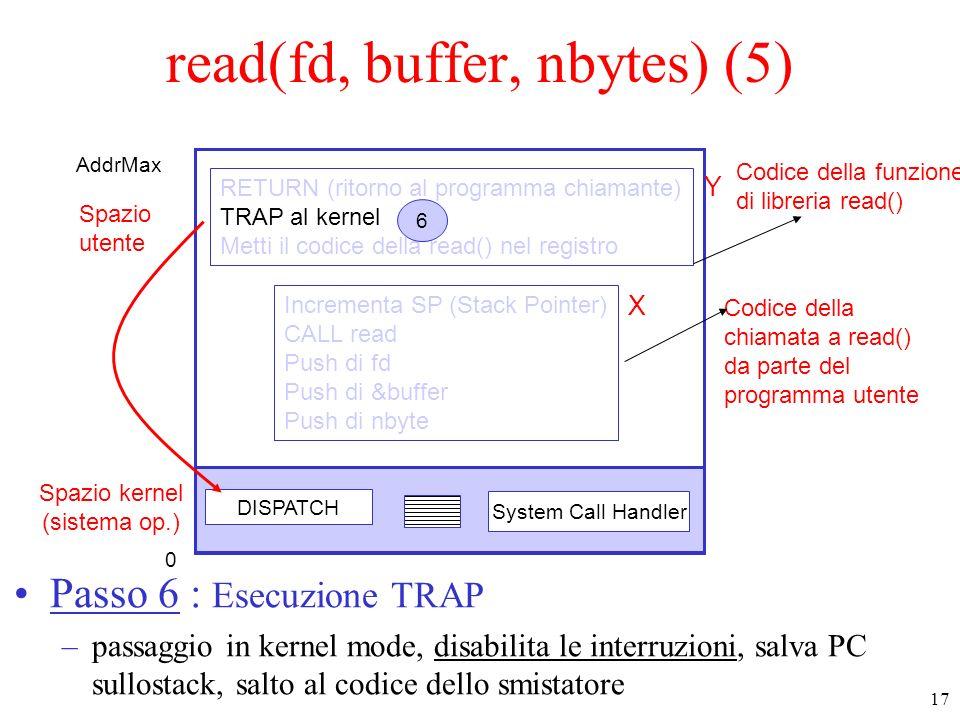 17 Spazio kernel (sistema op.) Spazio utente DISPATCH System Call Handler Codice della funzione di libreria read() Codice della chiamata a read() da parte del programma utente Incrementa SP (Stack Pointer) CALL read Push di fd Push di &buffer Push di nbyte RETURN (ritorno al programma chiamante) TRAP al kernel Metti il codice della read() nel registro 6 read(fd, buffer, nbytes) (5) Passo 6 : Esecuzione TRAP –passaggio in kernel mode, disabilita le interruzioni, salva PC sullostack, salto al codice dello smistatore 0 AddrMax X Y