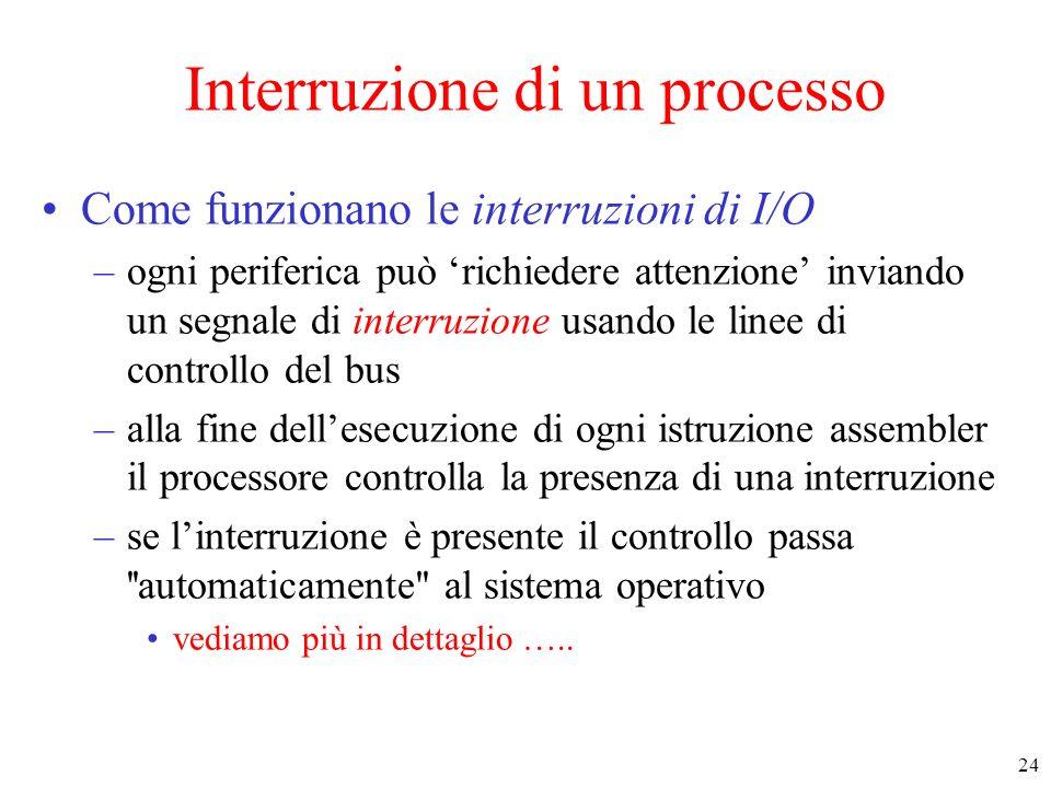 24 Interruzione di un processo Come funzionano le interruzioni di I/O –ogni periferica può richiedere attenzione inviando un segnale di interruzione u