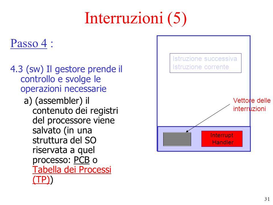 31 Interruzioni (5) Passo 4 : 4.3 (sw) Il gestore prende il controllo e svolge le operazioni necessarie a) (assembler) il contenuto dei registri del p