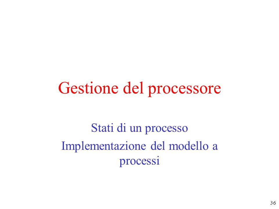 36 Gestione del processore Stati di un processo Implementazione del modello a processi
