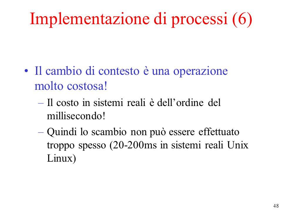 48 Implementazione di processi (6) Il cambio di contesto è una operazione molto costosa! –Il costo in sistemi reali è dellordine del millisecondo! –Qu