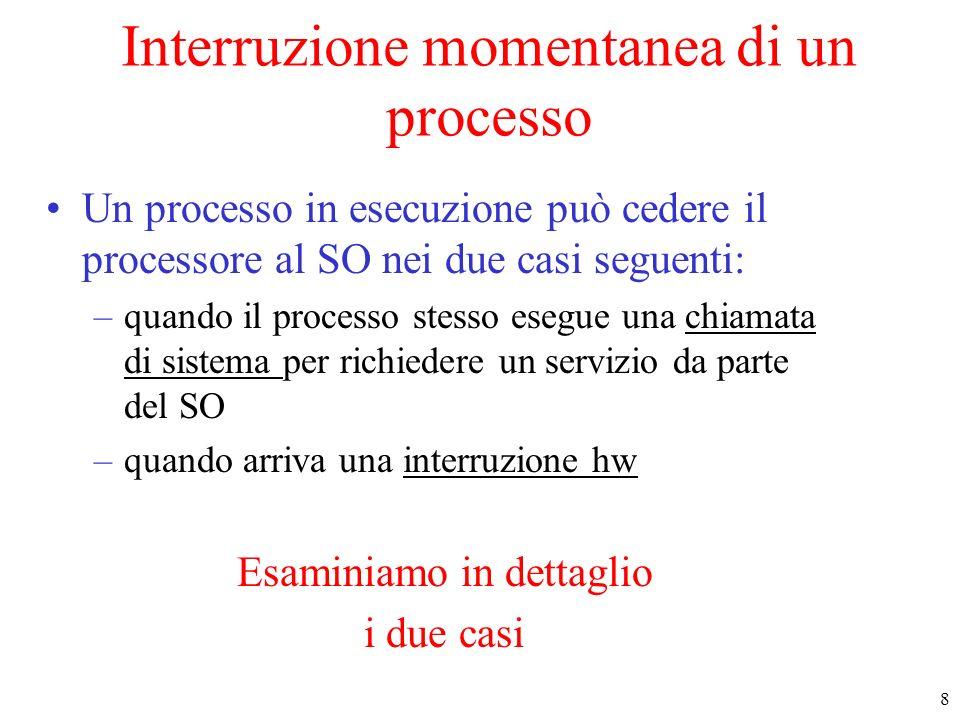 8 Interruzione momentanea di un processo Un processo in esecuzione può cedere il processore al SO nei due casi seguenti: –quando il processo stesso esegue una chiamata di sistema per richiedere un servizio da parte del SO –quando arriva una interruzione hw Esaminiamo in dettaglio i due casi
