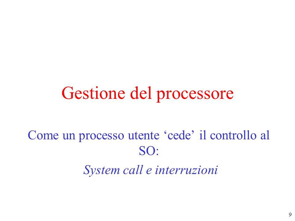 30 Interruzioni (4) Passo 4 : 4.1 (hw) si rileva il segnale di interruzione presente, il contenuto di PC/PSW viene salvato sulla pila, si passa in modo kernel, si disabilitano le interruzioni 4.2 (hw) lindirizzo del dispositivo (il valore X sul bus) viene usato come indice nel vettore delle interruzioni Interrupt Handler Istruzione successiva Istruzione corrente Vettore delle interruzioni X ind1 Il contenuto della posizione X del vettore delle interruzioni è lindirizzo della prima istruzione del gestore delle interruzioni di tipo X (ind1) e viene caricato nel PC.