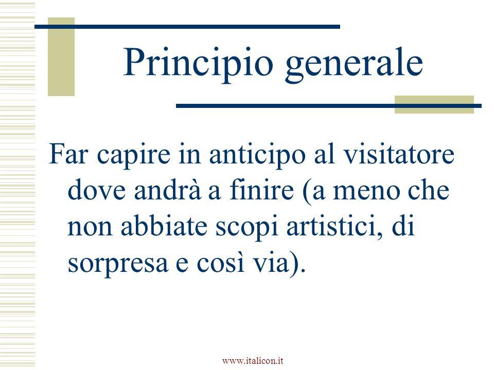 www.italicon.it Principio generale Far capire in anticipo al visitatore dove andrà a finire (a meno che non abbiate scopi artistici, di sorpresa e così via).