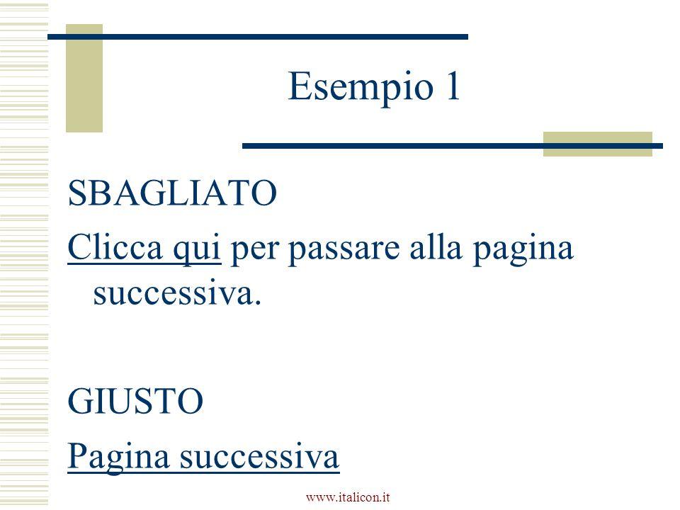 www.italicon.it Esempio 1 SBAGLIATO Clicca qui per passare alla pagina successiva.