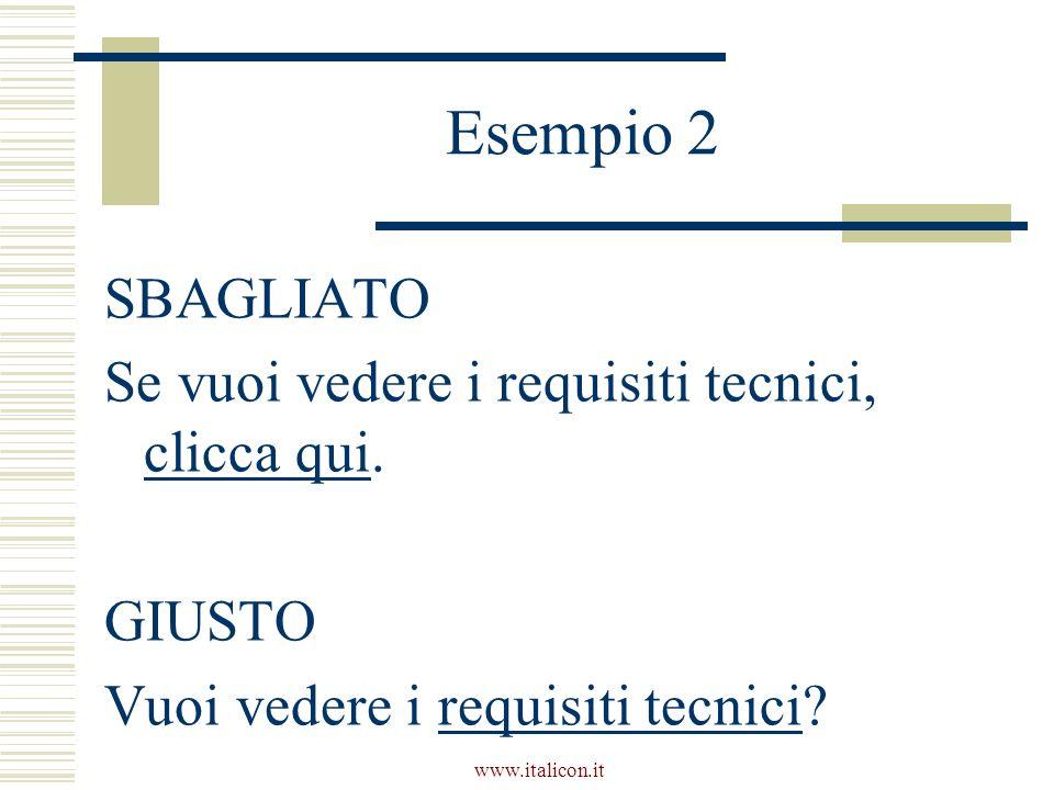 www.italicon.it Esempio 2 SBAGLIATO Se vuoi vedere i requisiti tecnici, clicca qui.
