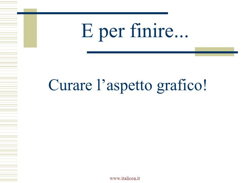 www.italicon.it E per finire... Curare laspetto grafico!