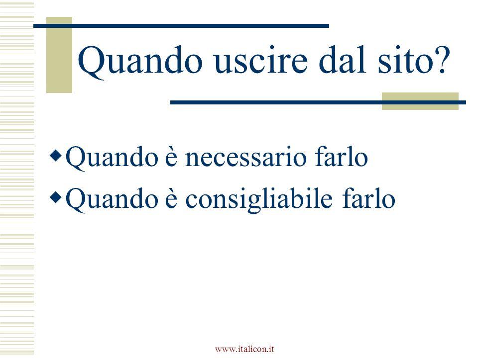 www.italicon.it Quando uscire dal sito Quando è necessario farlo Quando è consigliabile farlo