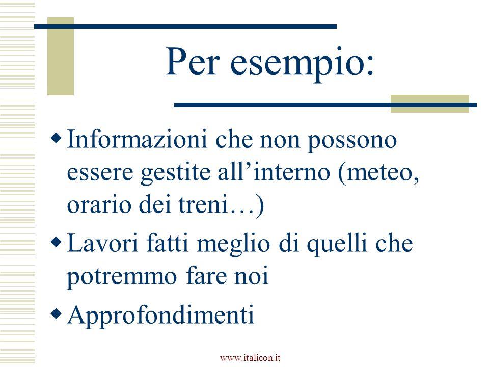 www.italicon.it Per esempio: Informazioni che non possono essere gestite allinterno (meteo, orario dei treni…) Lavori fatti meglio di quelli che potremmo fare noi Approfondimenti