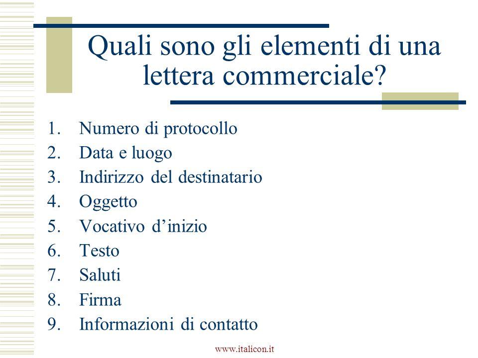 www.italicon.it Quali sono gli elementi di una lettera commerciale? 1.Numero di protocollo 2.Data e luogo 3.Indirizzo del destinatario 4.Oggetto 5.Voc