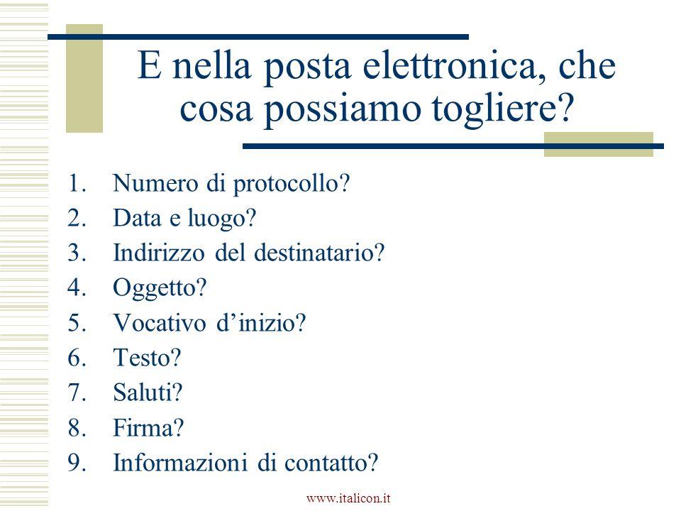 www.italicon.it E nella posta elettronica, che cosa possiamo togliere? 1.Numero di protocollo? 2.Data e luogo? 3.Indirizzo del destinatario? 4.Oggetto