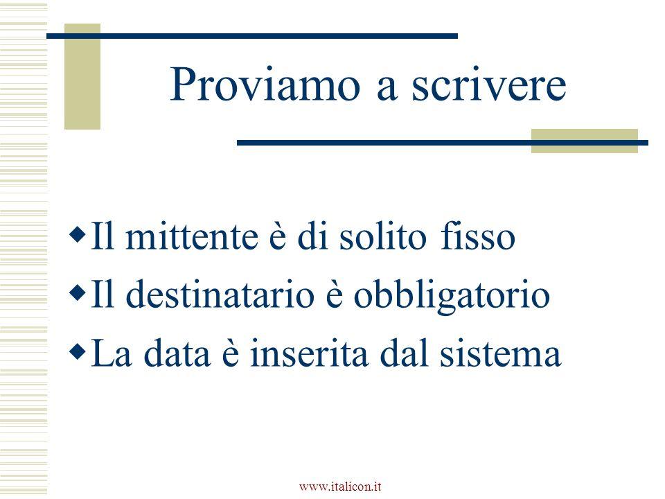 www.italicon.it Proviamo a scrivere Il mittente è di solito fisso Il destinatario è obbligatorio La data è inserita dal sistema