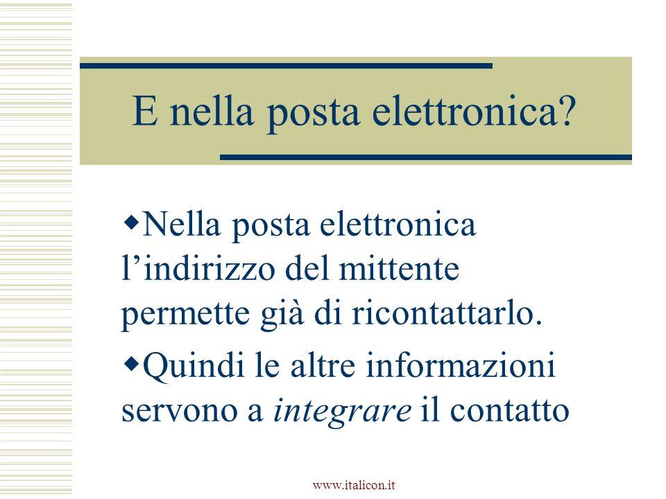 www.italicon.it E nella posta elettronica? Nella posta elettronica lindirizzo del mittente permette già di ricontattarlo. Quindi le altre informazioni